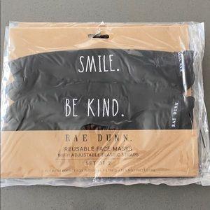 NWT Rae Dunn Smile/ Be Kind Reusable Face Masks